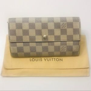 LOUIS VUITTON Damier Azur Sarah Wallet w dust bag